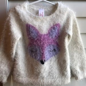 Cat & Jack fuzzy fox sweater 3T